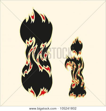 Fiery font Letter I Illustration on white background