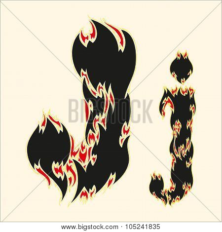 Fiery font Letter J Illustration on white background