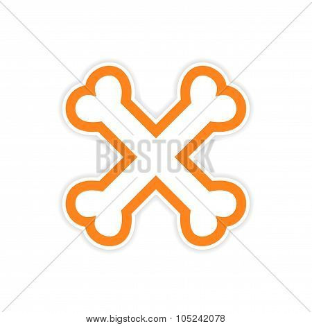 sticker cross bones stacked on a white background