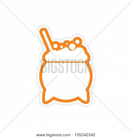 sticker pot of boiling potion on a white background