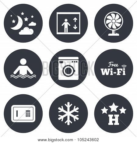 Hotel, apartment service icons. Wifi internet.