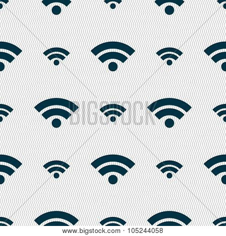 Wifi Sign. Wi-fi Symbol. Wireless Network Icon. Wifi Zone. Seamless Abstract Background With Geometr