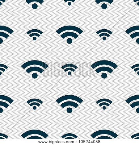 Wifi Sign. Wi-fi Symbol. Wireless Network Icon. Wifi Zone. Seamless Abstract Background With Geometr