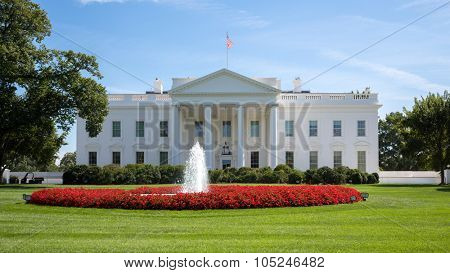 White House with flag, lawn, fountain at summer day.