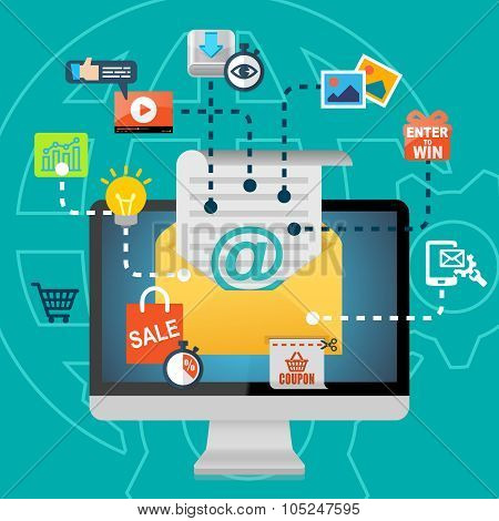 Email Marketing Advertising Concept Background