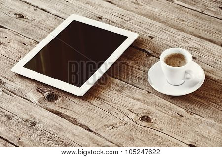 White Tablet Computer With Cup Coffe