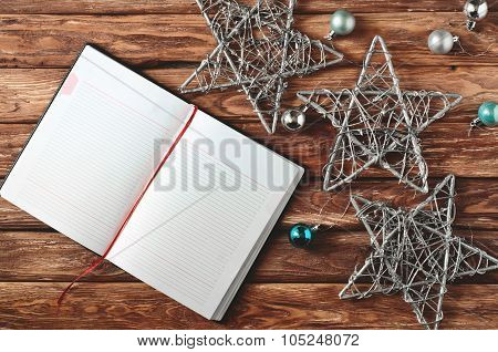 Open Notebook With Blank Pages On Wooden Background