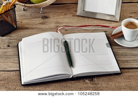 Open Notebook With Blank Pages On The Desktop Designer
