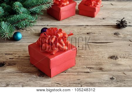 Christmas Gift Closeup On Wooden Table