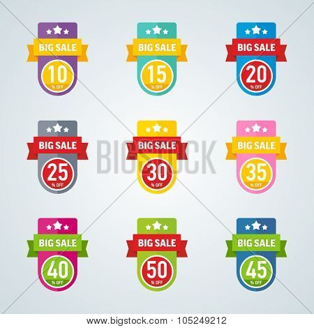 Set of big sale 10-50 percent colorful badge. Vector illustration.