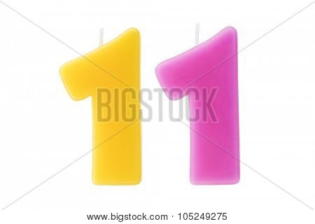 Colorful birthday candles in the form of the number eleven on white background