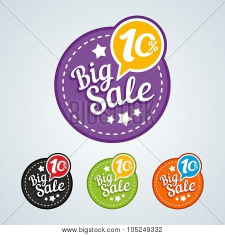 Big sale of 10 percent of the round label. Vector illustration in different colors.