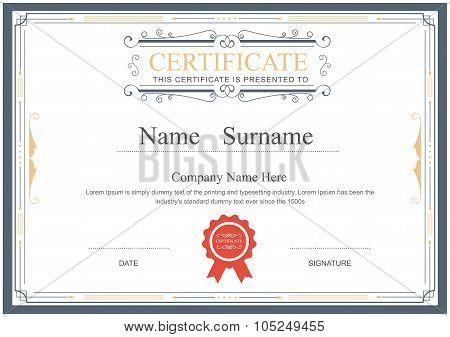 Certificate Template Flourishes Elegant Vector