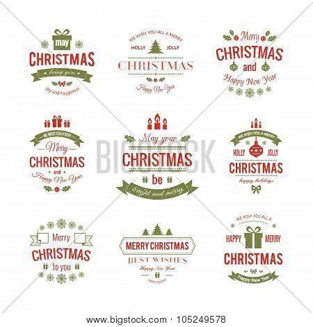 Set typographic christmas vintage labels