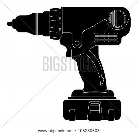 Electric drill. Silhouette