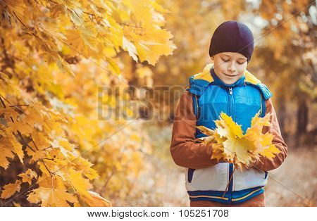 funny kid on a background of autumn trees