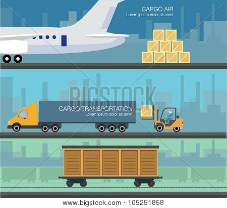 Cargo transportation by road and train. Workers loading and unloading trucks and rail car with forklifts. Three flat cargo banner. Logistic concept transport delivery services. vector illustration.