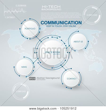 Infographic elements. futuristic user interface HUD UI UX. Abstract background with connecting dots and lines. Connection structure.  Abstract molecules circle and blank space for your content.