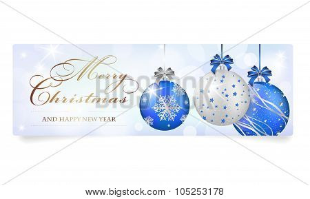 Christmas Card With Silver-blue Shiny Christmas Balls