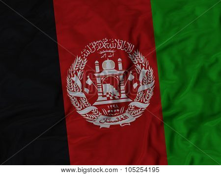 Closeup of ruffled Afghanistan flag