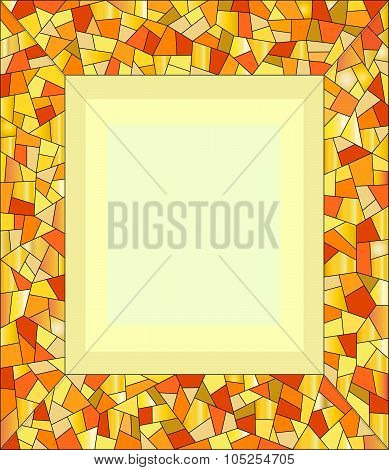 Amber mosaic frame for photo.
