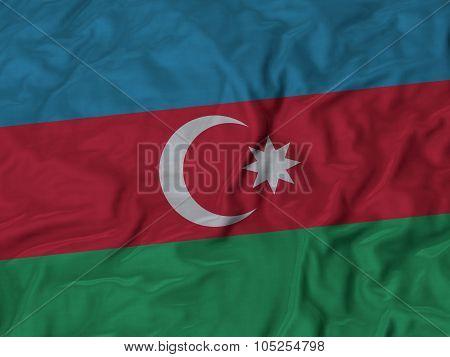 Closeup of ruffled Azerbaijan flag