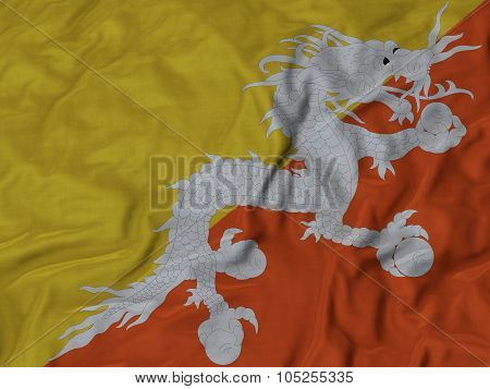 Closeup of ruffled Bhutan flag