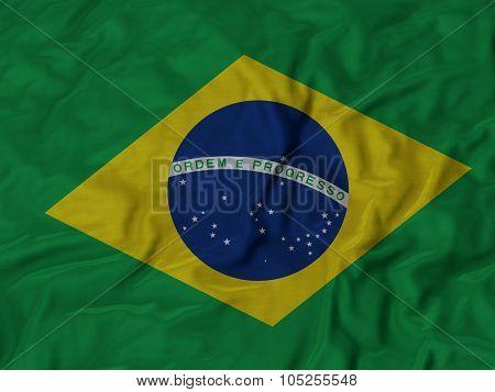 Closeup of ruffled Brazil flag