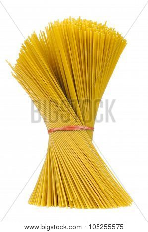 Raw Whole-Wheat Spaghetti Pasta In Bundle Isolated On White Background