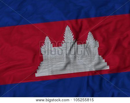 Closeup of ruffled Cambodia flag