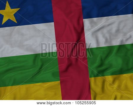 Closeup of ruffled Central African Republic flag