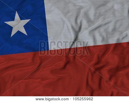 Closeup of ruffled Chile flag