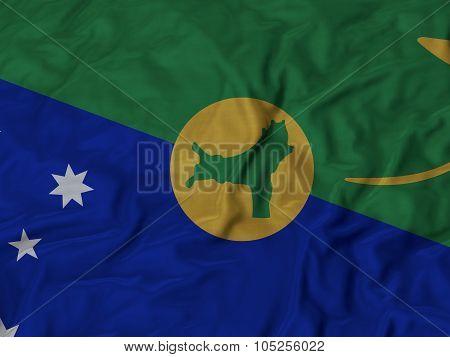 Closeup of ruffled Christmas_Island flag
