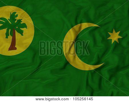 Closeup of ruffled Cocos Keeling Islands flag