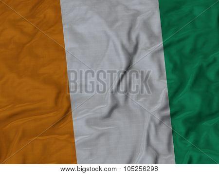 Closeup of ruffled Cote d Ivoire flag