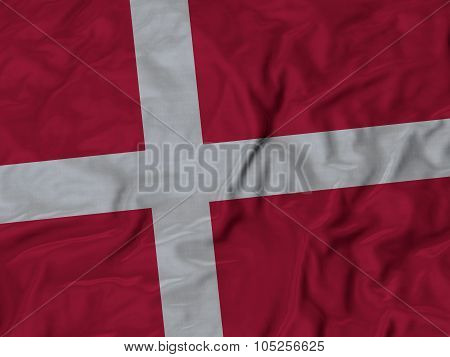 Closeup of ruffled Denmark flag