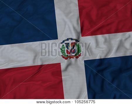 Closeup of ruffled Dominican_Republic flag