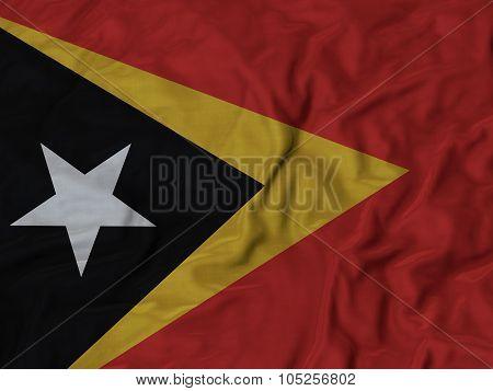 Closeup of ruffled East Timor flag