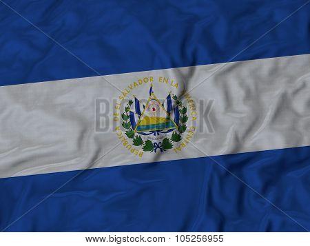 Closeup of ruffled El Salvador flag