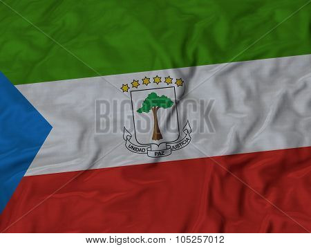Closeup of ruffled Equatorial_Guinea flag