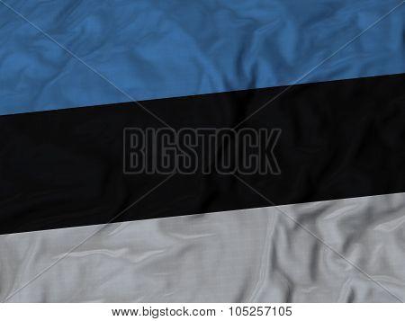Closeup of ruffled Estonia flag