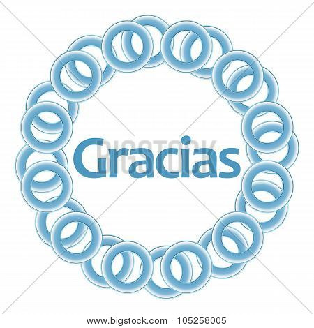 Gracias Text Inside Blue Rings Circular