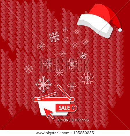 Christmas Shopping Winter Sale Snowflakes On Red Shopping Basket Santa Hat Internet Shop Online