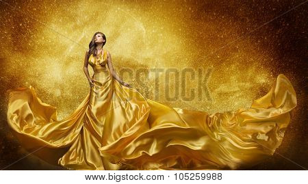 Gold Fashion Model Dress, Woman Golden Silk Gown Flowing Fabric, Girl On Stars Sky