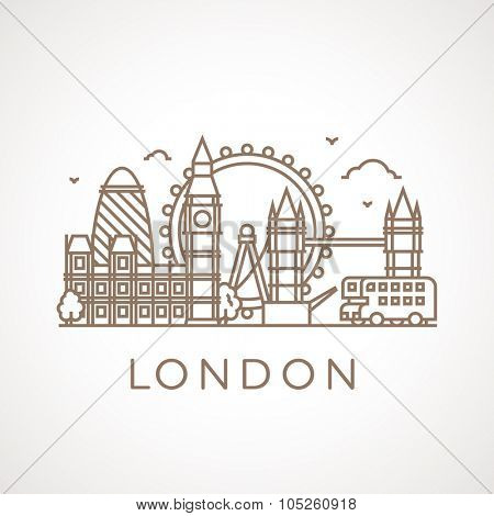 Trendy line illustration of London with different famous buildings and places of interest. Modern vector line-art design.