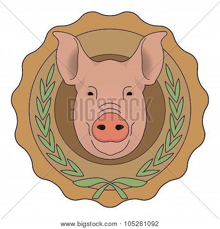 Butchery eco logo. Pig head in laurel wreath. Color