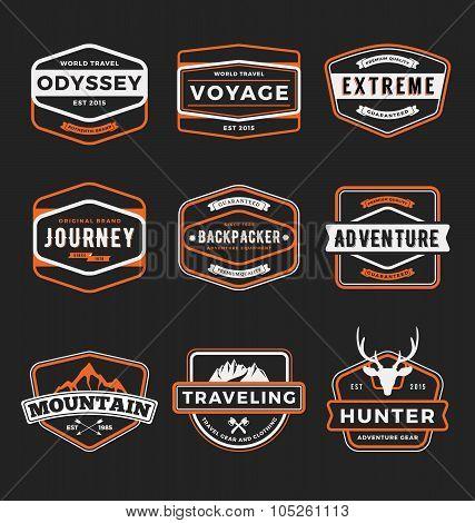 set of outdoor adventure and traveling gear badge logo emblem logo