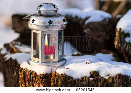 Vintage Candle Lantern At The Winter Outdoor.