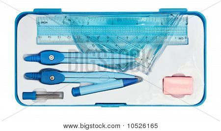 Geometry Set With Compass, Ruler And Protractor In Pen Case