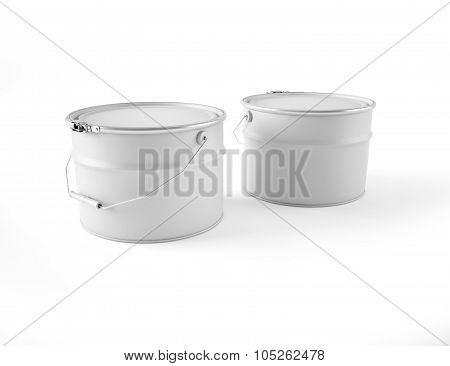 Two white cans of paint with the handle